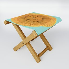 Sun Drawing Gold and Blue Folding Stool