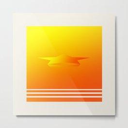 Star Flight Space Carrier - Red Orange Yellow Metal Print