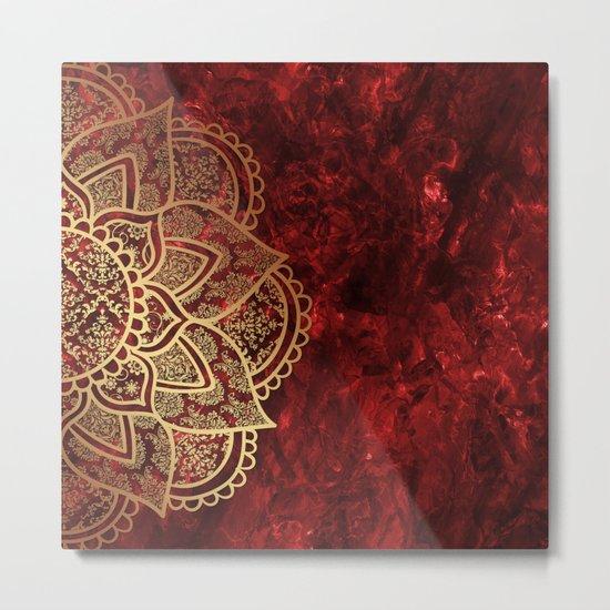 Mandala - Ruby Metal Print