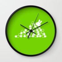 pills Wall Clocks featuring Crazy pills by flydesign