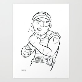 Stowaway Pirate - ink Art Print