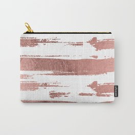 Elegant white faux rose gold brushstrokes stripes pattern Carry-All Pouch
