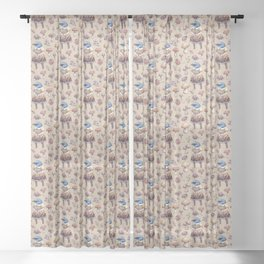 Mushroom Pickers - Lady Blue Sheer Curtain
