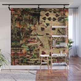 Abstract Vintage Playing cards  Digital Art Wall Mural