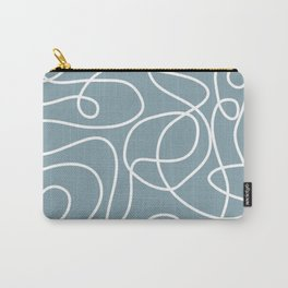 Doodle Line Art | White Lines on Dusty Blue Carry-All Pouch