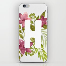 Monogram H with red watercolor flowers and leaves. Floral letter H iPhone Skin