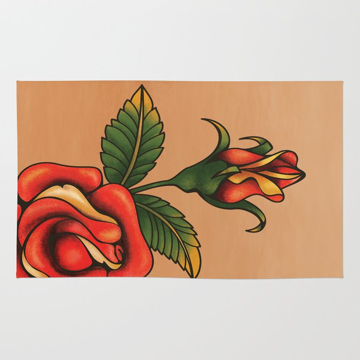 Old School Tattoo Rose Rug By Jera Society6