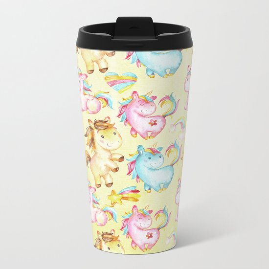 Unicorn Zoo- Cute pastel unicorn on yellow Metal Travel Mug