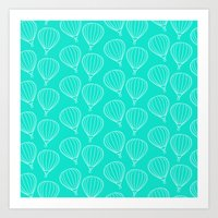 hot air balloons Art Prints featuring CUTE HOT AIR BALLOONS by Allyson Johnson