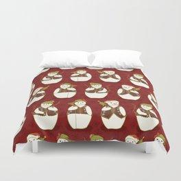 Red Christmas Festive Winter Snowman Star Friends Duvet Cover