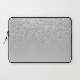 Trendy modern silver ombre grey color block Laptop Sleeve