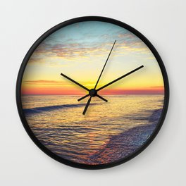 Summer Sunset Ocean Beach - Nature Photography Wall Clock