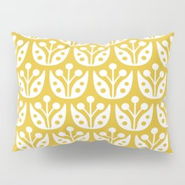 Mid Century Modern Flower Pattern Mustard Yellow Pillow Sham