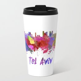 Tel Aviv skyline in watercolor Travel Mug