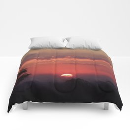 Sweet Pink Orange Sunset Comforters
