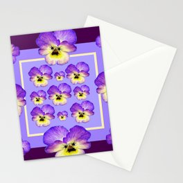 PURPLE-YELLOW SPRING GARDEN VIOLAS PATTERN ART Stationery Cards