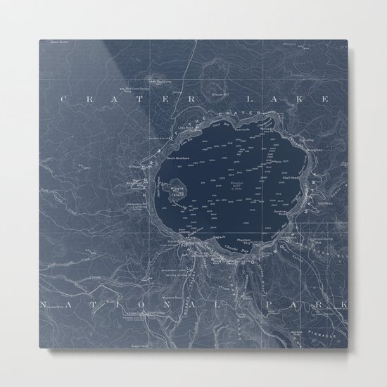 Crater Lake Blueprint Map Design Metal Print