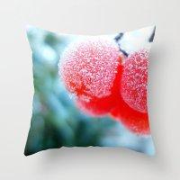 frozen Throw Pillows featuring Frozen by Antonia Elena