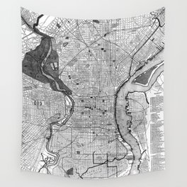 Vintage Map of Philadelphia PA (1895) BW Wall Tapestry