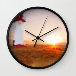 Dawn Breaking Watercolor - Lighthouse Art North Sea Wall Clock