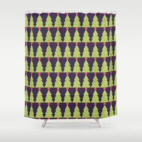 christmas tree Shower Curtains featuring CHRISTMAS TREE by aztosaha