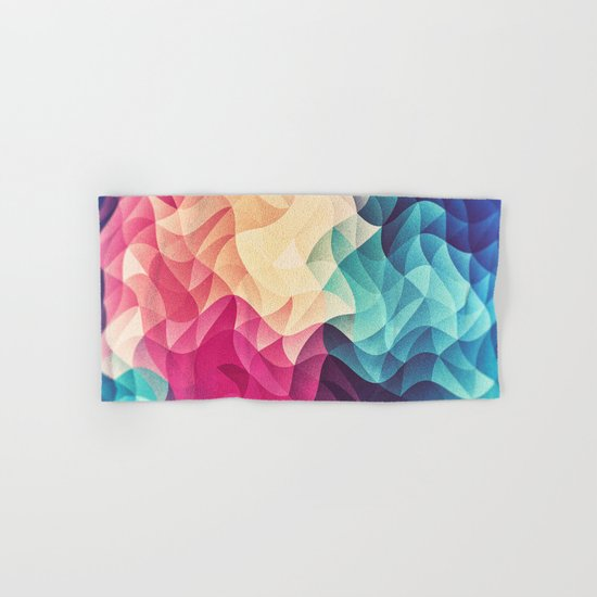 Geometry Triangle Wave Multicolor Mosaic Pattern - (HDR - Low Poly Art) Hand & Bath Towel