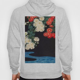 Ohara Koson Chrysanthemums and Running Water 1931 Japanese Woodblock Print Vintage Historical Hoody