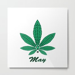 Birthstoned Leaf of Month, May Emerald Metal Print