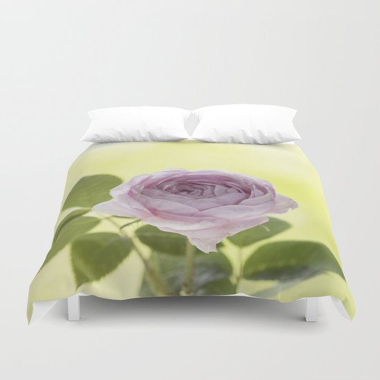 Pink Rose in crystal vase- Stilllife photography Duvet Cover