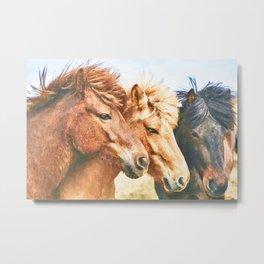 Three horses watercolor painting  Metal Print