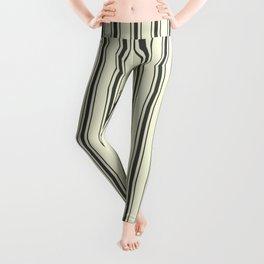 Mattress Ticking Wide Striped Pattern in Dark Black and Beige Leggings