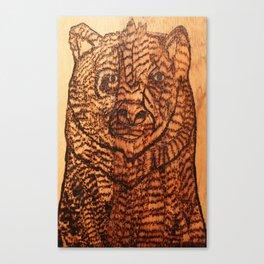 Bear pyrography Canvas Print