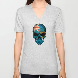 Dark Skull with Flag of Turks and Caicos Unisex V-Neck