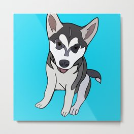 Siberian Husky Puppy's first day out  Metal Print