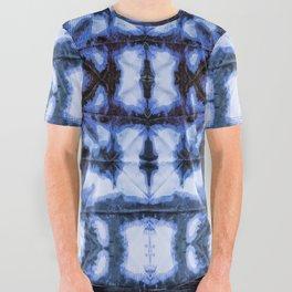 Blue Oxford Shibori All Over Graphic Tee