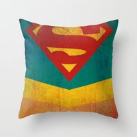 supergirl Throw Pillows featuring Supergirl by Fries Frame