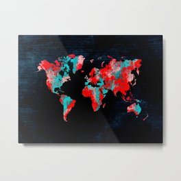 world map 82 red blue Metal Print