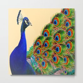 BLUE PEACOCK CREAM COLOR ART Metal Print