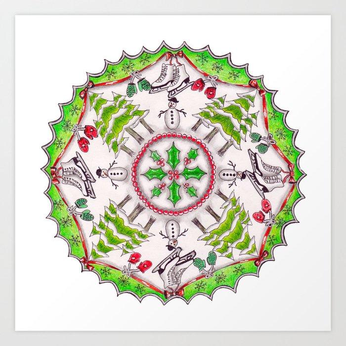 Winter Wreath Mandala Art Print