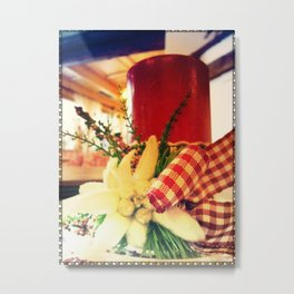 Candle and Flower Metal Print