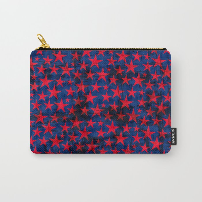 Red stars on grunge textured blue background Carry-All Pouch