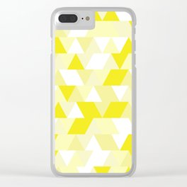 Simple Geometric Triangle Pattern - White on Yellow - Mix & Match with Simplicity of life Clear iPhone Case