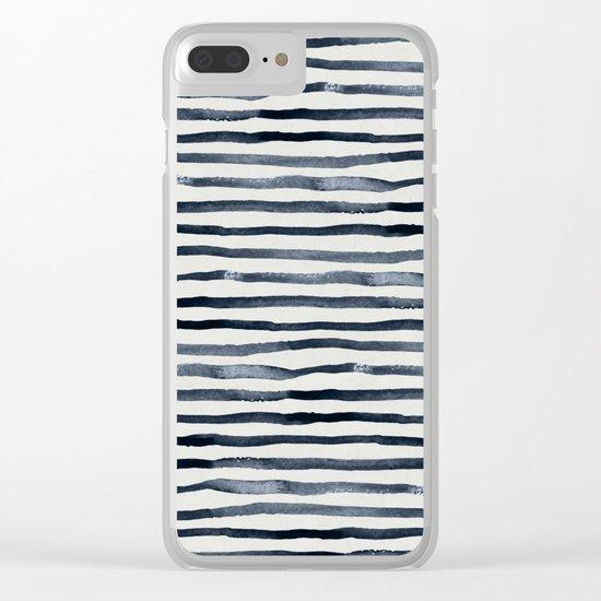 Simply Shibori Stripes Indigo Blue on Lunar Gray Clear iPhone Case