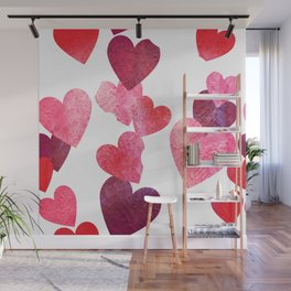 Pink Grungy Hearts Wall Mural