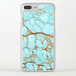 Cracked Turquoise & Rust Clear iPhone Case