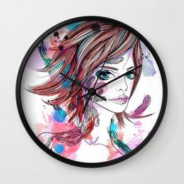 Girl with tattoo Wall Clock