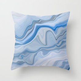 Smooth Abstract Ice Blue Marble Texture Throw Pillow
