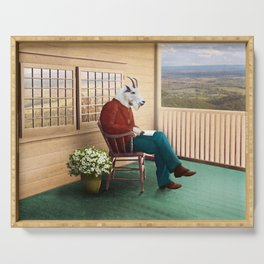 Mr Garwood Goat Reading on the Porch Serving Tray