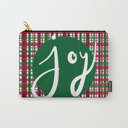 Holiday Plaid Joy - Green Carry-All Pouch