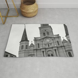 St. Louis Cathedral in Black and White Rug